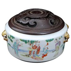 Chinese porcelain censer with scholar's scenes and hardwood lid 19th century