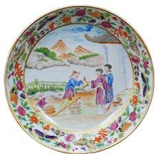 Chinese porcelain over glaze enamel saucer Mandarin pattern 18th/19th century