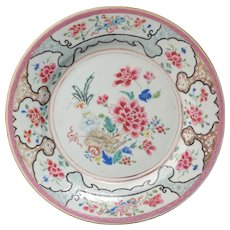 Chinese export over glaze enamel famille rose porcelain plate 18th century