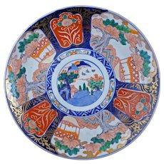 "Large 14"" colorful porcelain Antique Japanese Imari charger 19th century"