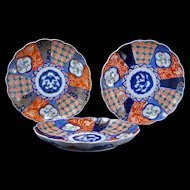 Set of three colorful Antique Japanese Imari porcelain plates Meiji Period 19th century Set 3 of 4