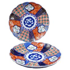 Pair of Antique Japanese Imari porcelain plates Meiji Period 19th century (Set 4)
