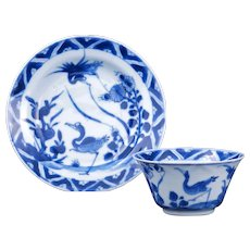 Kangxi Chinese blue and white porcelain matching teacup and saucer late 17th early 18th century