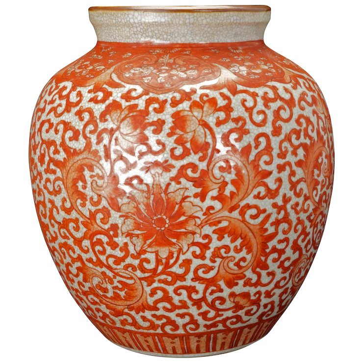 Chinese Porcelain Oatmeal Crackle Glaze Vase With Copper Red Lotus
