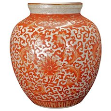 Chinese porcelain oatmeal crackle glaze vase with copper red lotus scrolling early 20th C