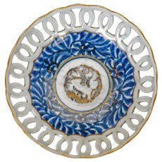 Japanese porcelain underglaze blue reticulated bowl circa 1780
