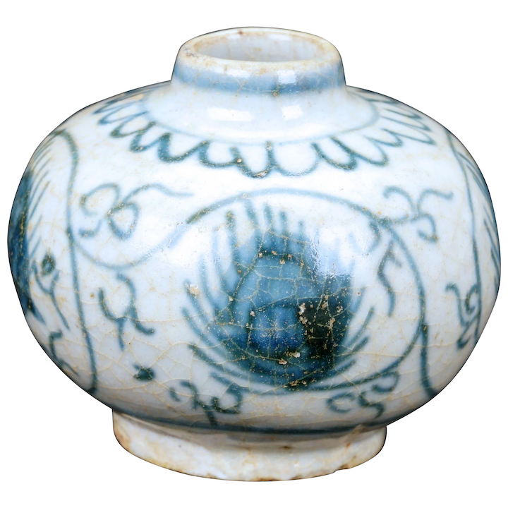 Small Chinese Ming Blue And White Porcelain Jar With Pea Design 15th 16th Century