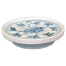 Chinese Ming blue and white porcelain footed stand or dish 15th/16th century
