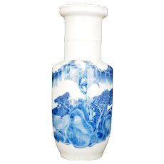 Chinese Kangxi style blue and white porcelain Rouleau vase 19th century