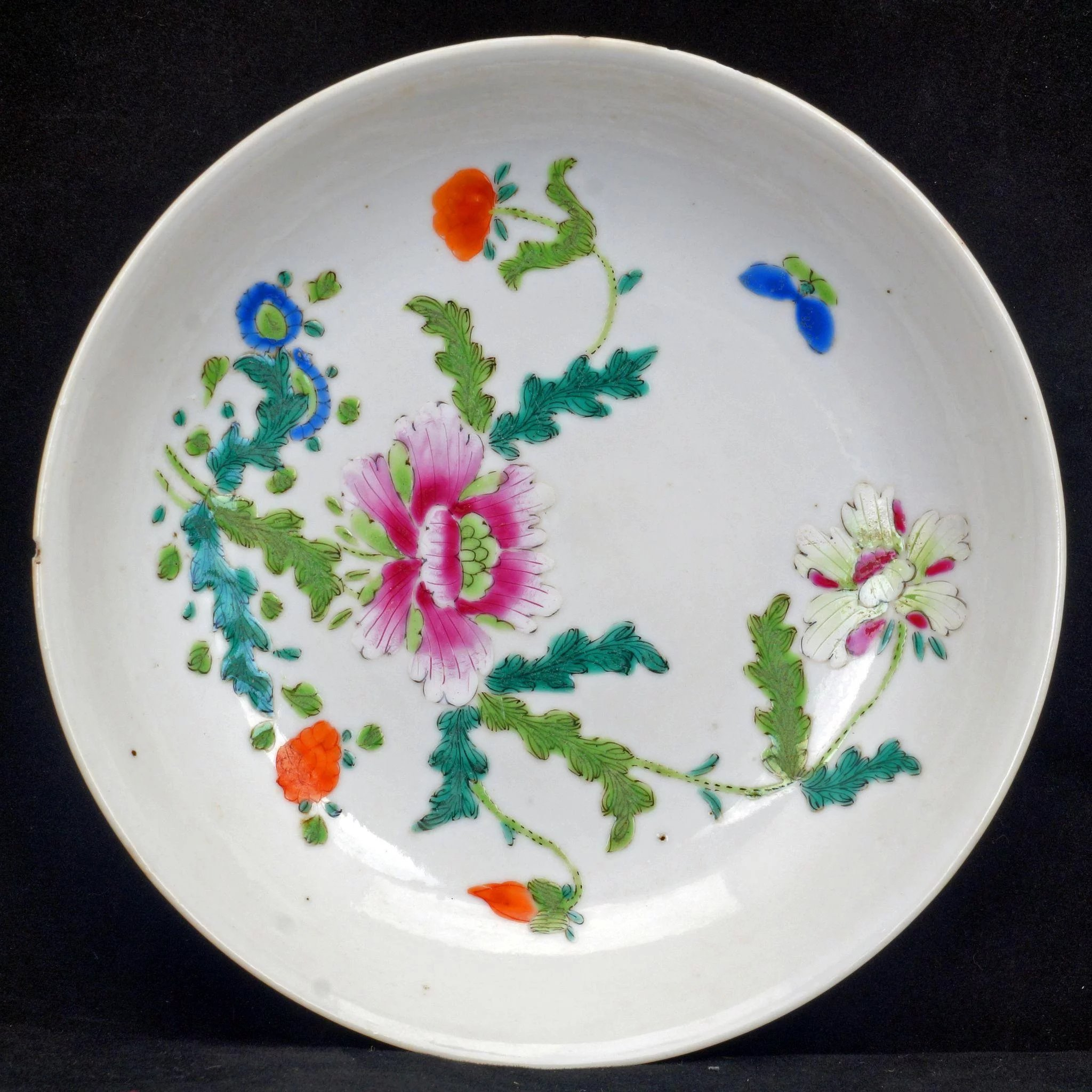 Pair Of Chinese Porcelain Over Glaze Enamel Saucers 19th