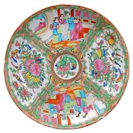 Antique Chinese porcelain rose medallion large shallow bowl circa 1900