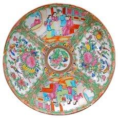 Antique Chinese porcelain rose medallion large shallow bowl circa 1900