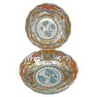Pair of matched porcelain Japanese Imari bowls with Crane designs 19th century