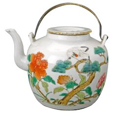 Chinese famille rose porcelain teapot with over glaze enamels Tongzhi mark and period 19th C