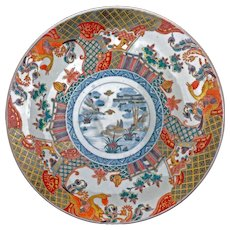 Very large Japanese porcelain colored Imari charger circa 1850