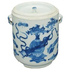 Chinese lidded hand painted blue and white porcelain tea caddy Republic period