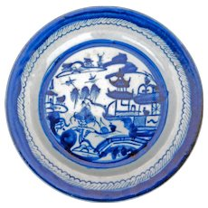 Chinese Cantonware blue and white porcelain large dinner plate 18th/19th century