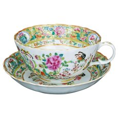 Chinese porcelain rose medallion teacup and matching saucer 19th century