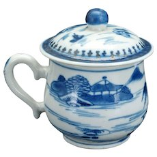 Chinese Canton blue and white porcelain pot de crème or syllabub circa 1800