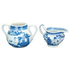 Chinese Canton ware blue and white porcelain cream and sugar 18th 19th century
