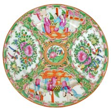 Chinese porcelain Rose Medallion dinner plate 19th century