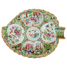 Chinese porcelain Rose Medallion leaf dish 19th century