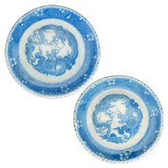 Matching pair of under glaze blue porcelain Japanese Igezara plates with dragons circa 1900