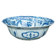 Chinese Ming blue and white Kraak ware porcelain bowl Wanli period late 16th century