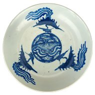 Wanli period blue and white porcelain Phoenix plate late 16th century