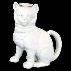 German bisque figural cat candle holder late 19th century