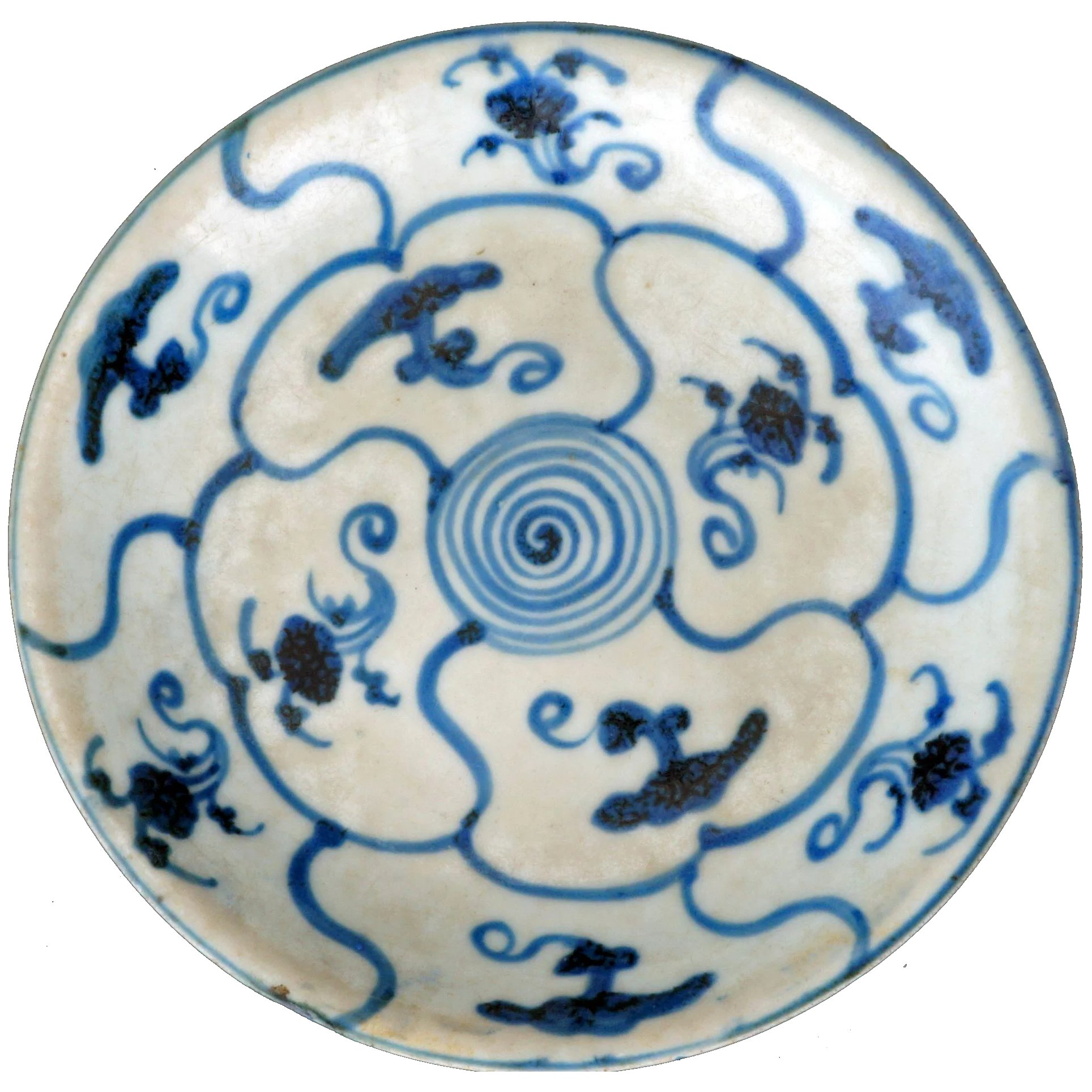 Chinese Ming porcelain blue and white dish with fungus and floral motif -  7th century