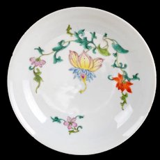 Chinese porcelain polychrome enamel dish with floral design Qing Dynasty 18/19th century