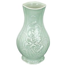 Chinese Celadon Molded Vase with Lotus motif early 20th century
