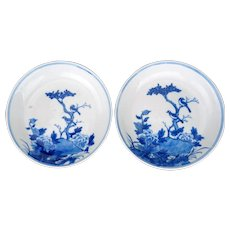 Late Qing Matched Pair of Chinese Porcelain Blue and White Saucers with Bird Motif