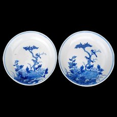 Late Qing Matched Pair of Chinese Porcelain Blue and White Saucers with a Bird Motif