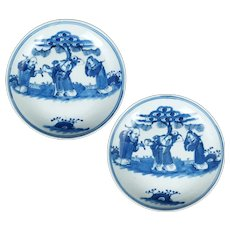 Pair Chinese Qing blue and white porcelain plates 18th/19th Century