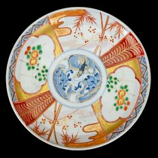 Japanese Imari Porcelain Colored Plate with Dragon 19th Century
