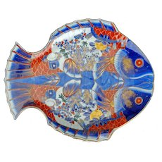 Large Vintage Japanese Hand Painted Fish Imari Style Porcelain Charger