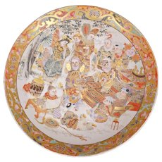 "Large 14 ½"" Japanese Ceramic Satsuma Shallow Bowl with Theater Scene 19th Century Meiji Period"