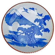 "Large 14"" Japanese Blue and White Igezara Charger with Mt Fuji, Pine, and Cranes Motif circa 1900"
