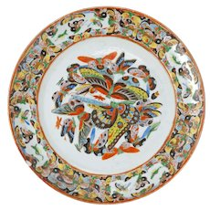 Thousand Butterfly Chinese export porcelain large plate late 19th century
