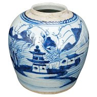 Antique Chinese Blue and White Canton Porcelain Ginger Jar 18th Century