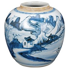Antique Chinese Canton Blue and White Porcelain Ginger Jar 18th Century