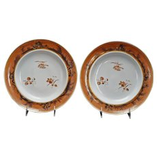 Pair Chinese Porcelain Export Dinner Plates Brown/Gold 18th Century