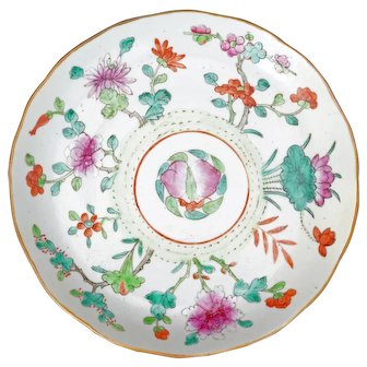 Chinese Porcelain Polychrome Floral Plate with Chenghua Mark circa 1900