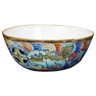Chinese Polychrome Porcelain Bowl with Mongolian Mark Circa 1900