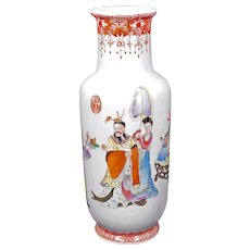 Chinese Polychrome Vase with Emperor and Servants Qianlong Mark Republic Period