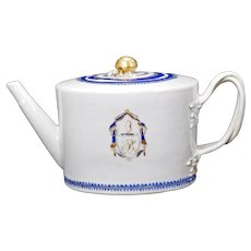 Chinese Export Armorial Teapot Nanking Pattern 18th/19th Century