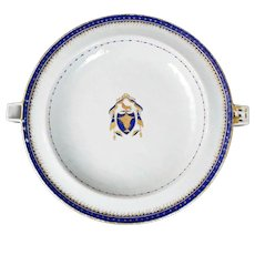 Armorial Chinese Export Blue and White Warming Dish 18th/19th Century