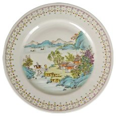 Chinese Porcelain Polychrome Plate with Landscape Republic Period